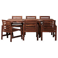 ÄPPLARÖ Стол+6 кресел,д/сада, коричневая морилка коричневый 398.984.74