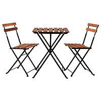 TÄRNÖ Стол+2стула,д/сада, черный акация, сталь серо-коричневая морилка