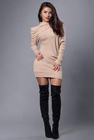 Женское теплое платье туника  с декоративным ,ассиметричным воротником-хомутом. 42-48