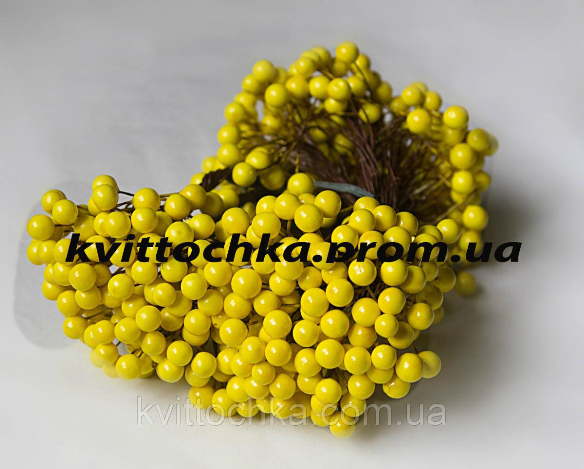 """Ягоды """"Калина"""" желтая на проволоке 8 мм."""