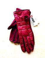 Серсорные женские перчатки трикотаж/дутик/флис, бордовые