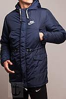Куртка зимняя теплая, парка мужская, Найк идеально для зимы - 25 , синяя, супер качество,