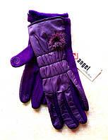 Серсорные женские перчатки трикотаж/дутик/флис, сиреневые