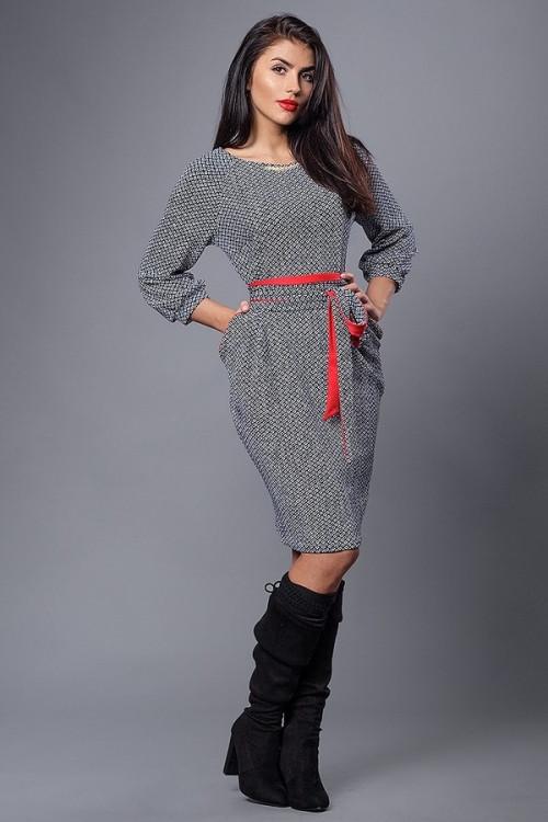 Женское молодежное стильное платье с поясом и карманами. 48.50.52