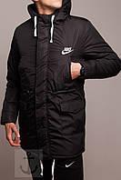 Куртка зимняя теплая, парка мужская, идеально для зимы - 25 ,Найк  черная, супер качество,