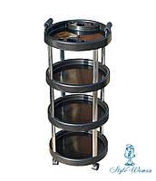 Тележка парикмахерская круглая 4 полки TDS-03 черная, фото 1