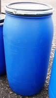 Бочка 160 литров б/у пластиковая со съемной крышкой и хомутом б/у (техническая)