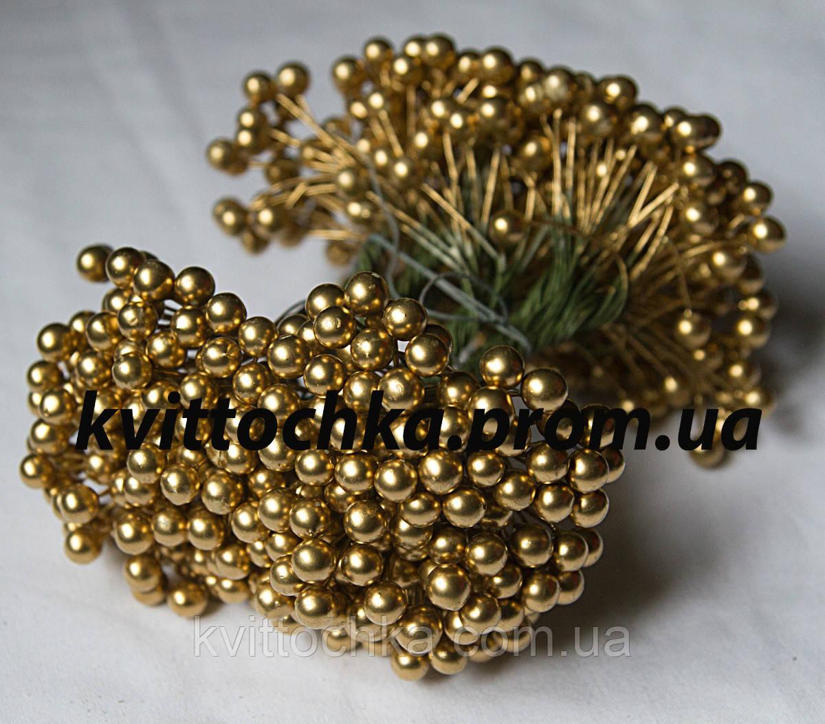 """Ягоды """"Калина"""" золото на проволоке 8 мм."""