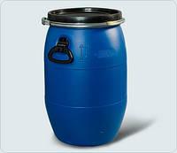 Бочка 60 литров б/у пластиковая со съемной крышкой и хомутом б/у (техническая)