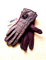 Серсорные женские перчатки трикотаж/дутик/флис, коричневые