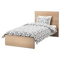 MALM Каркас кровати, высокий, дубовый шпон × белый