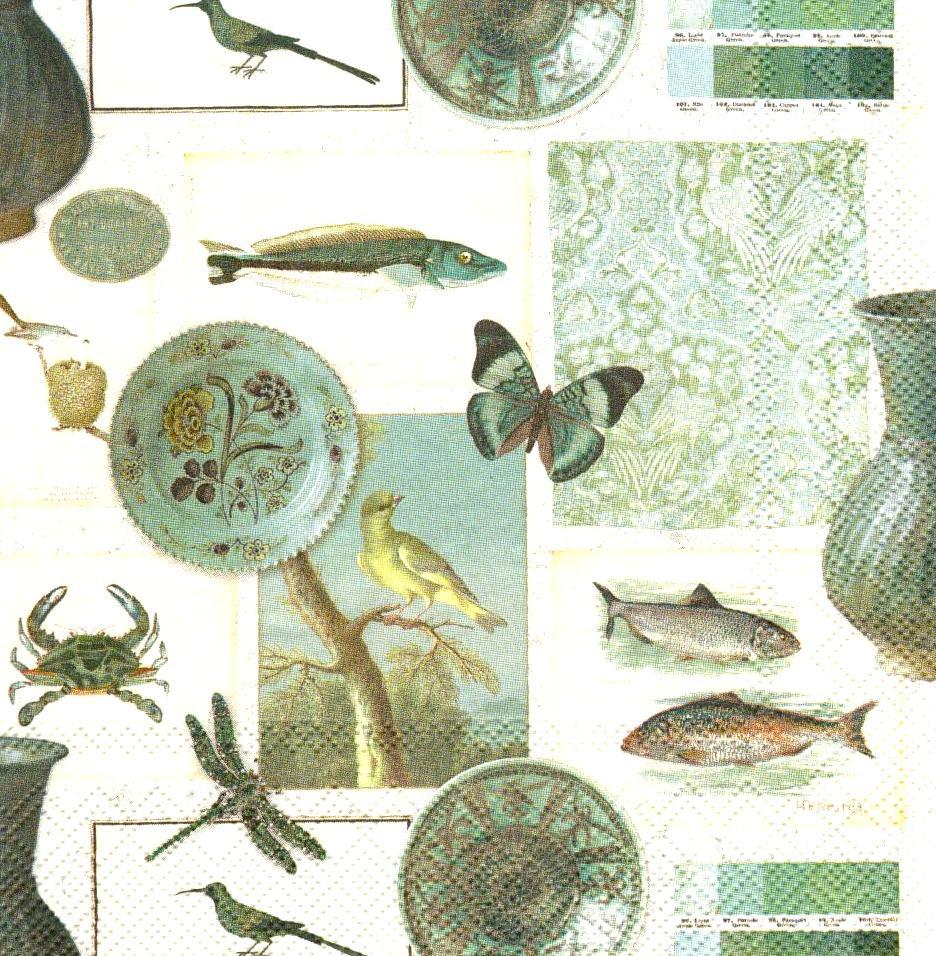 Декупажні серветки Птиці, риби 6488