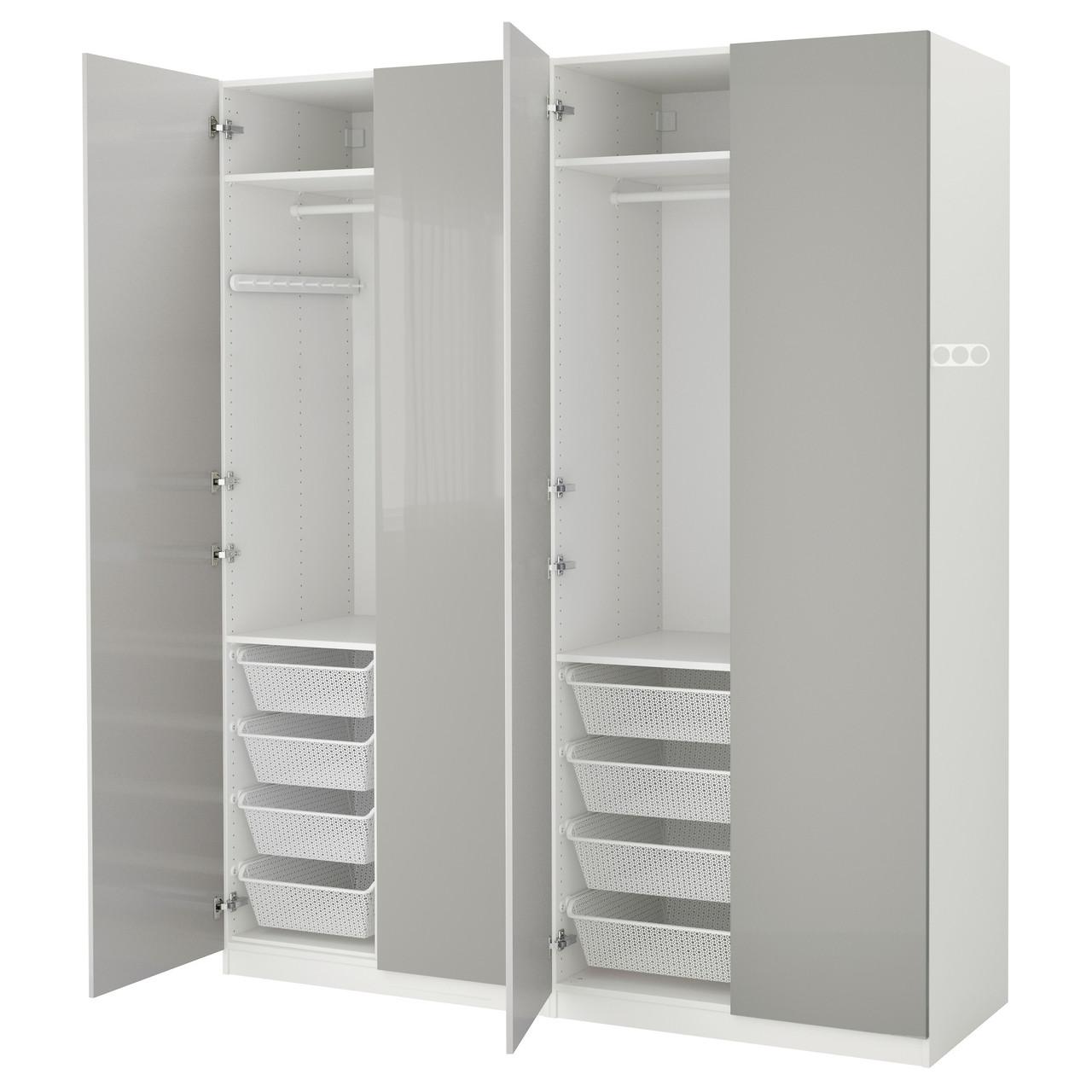 PAX Шкаф, белый, Fardal полированный светло-серый 491.793.36