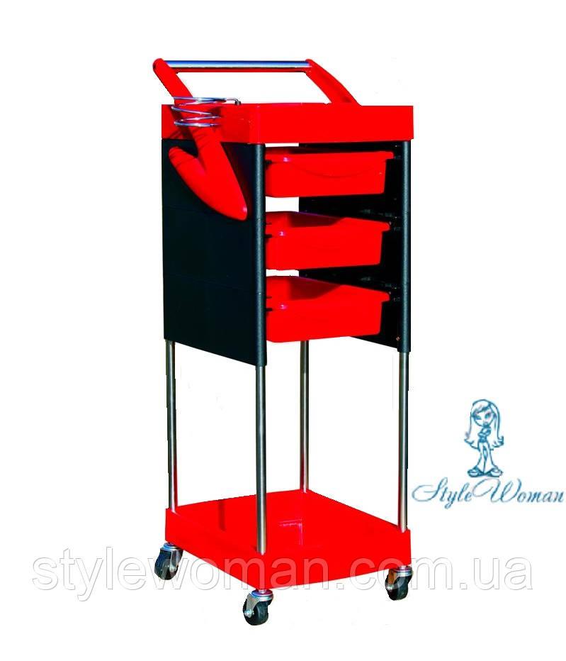 Тележка парикмахерская черная с красным 3 полки №528