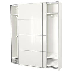 PAX Шкаф, белый, Färvik белое стекло 591.670.31