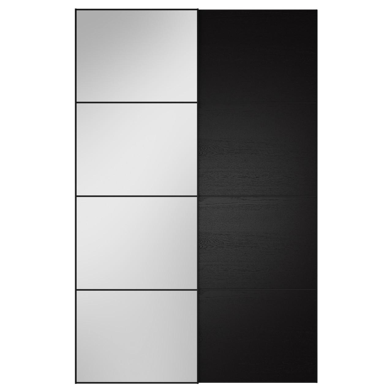 AULI / ILSENG Пара раздвижных дверей, зеркальное стекло, черно-коричневый 391.909.71