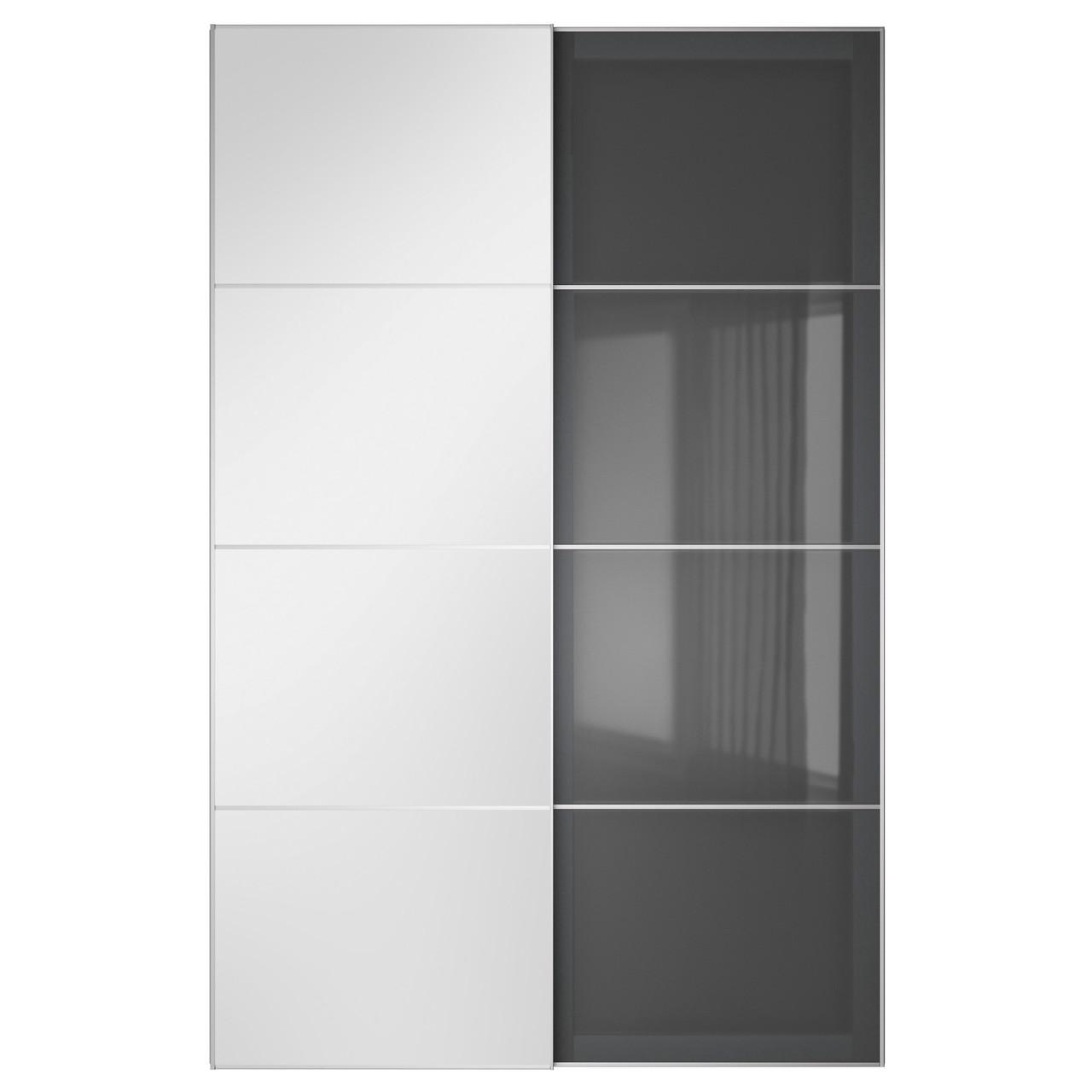 AULI / UGGDAL Пара раздвижных дверей, зеркальное стекло, серое стекло 591.904.04