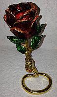 """Шкатулка-сувенир ювелирная для украшений и драгоценностей """"Фаберже"""" Роза со стразами, металлическая"""