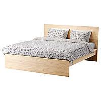 MALM Каркас кровати, высокий, дубовый шпон × белый, Leirsund
