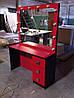 Рабочее место парикмахера, визажиста красно-черный однотумбовый с зеркалом, фото 4
