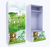 Шкаф два ящика, верх для одежды с фотопечаттю