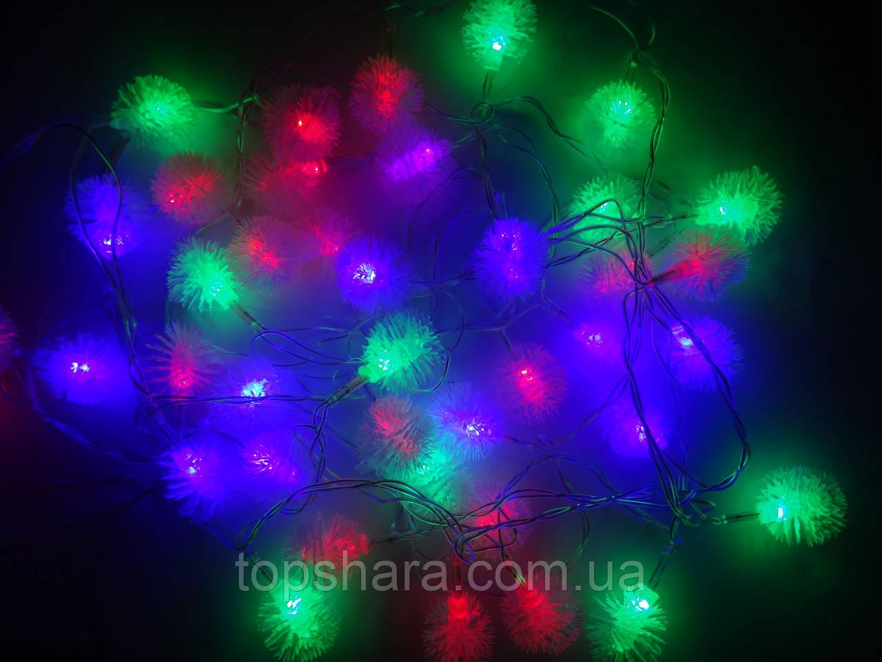 Светодиодная Гирлянда Ёжики Новогодняя на Елку 3 м  20 LED Мульти