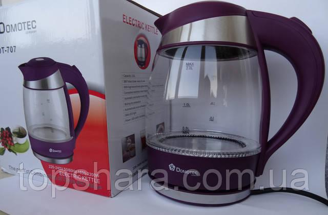 Электрочайник стекло Domotec DT-707 чайник 2 л. Фиолетовый