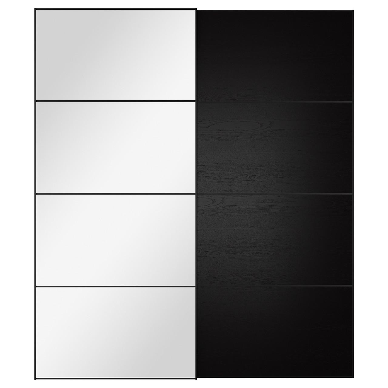 AULI / ILSENG Пара раздвижных дверей, зеркальное стекло, черно-коричневый 999.303.48