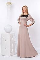 Красивое длинное платье в пол из структурного трикотажа с гипюровыми вставками 42-48 размера