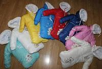 Детский зимний комбинезон для новорожденных 0-1 год теплый внутри на искусственной овчине