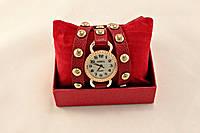 """Часы Geneva в стиле винтаж красные """"две обмотки вокруг руки"""""""
