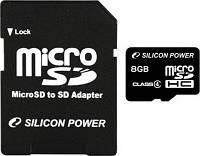 Silicon Power MicroSDHC 8GB Class 4 +SD adapter