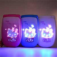 Hello Kitty W88 мини раскладной телефончик для модницы (1 sim хелло китти)
