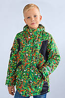 """Утепленная зимняя куртка """"Art green"""" для мальчика 5-8 лет (Разм. 110-128) ТМ Модный карапуз"""