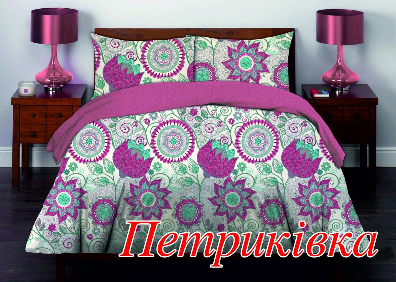 Комплект постельного белья Семейный Home Line 143х215 Бязь ПЕТРИКІВКА нав.50х70 кейс