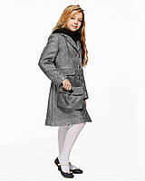 Детское пальто для девочки №575 серая елка