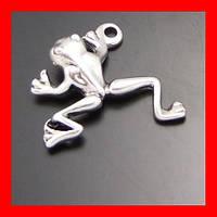 Кулон подвеска лягушка, цвет серебряный
