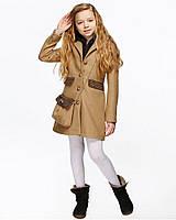 Детское пальто для девочки №574 бежевый