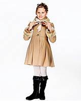 Детское пальто для девочки №576 бежевый