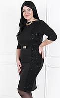 Платье приталенного силуэта сбоку и по поясу вставка из гипюра с пайетками №181 ч