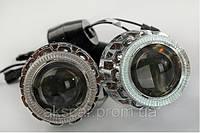 Биксеноновые линзы с ангельскими глазками PJT 88 H4/6000K с лампами в комплекте