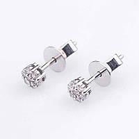 Золотые женские серьги-пуссеты с бриллиантами(0.60кр)