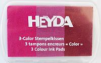 Штемпельная подушка с пигментным чернилом Розовые оттенки 3 цв в 1 7,5*5см Heyda