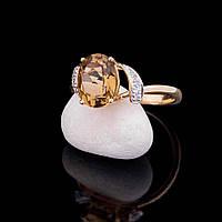Помолвочное кольцо с бриллиантами и кварцем желто-коричневым