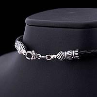 Кожаный шнурок с замком из серебра