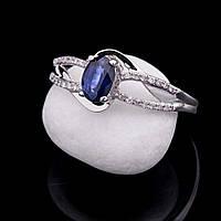 Золотое кольцо с синим сапфиром и бриллиантами