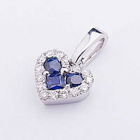 "Золотая подвеска ""Сердце"" с синими сапфирами и бриллиантами"