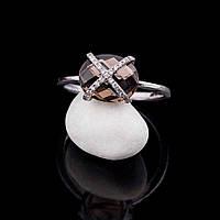 Золотое кольцо с дымчатым топазом и бриллиантами