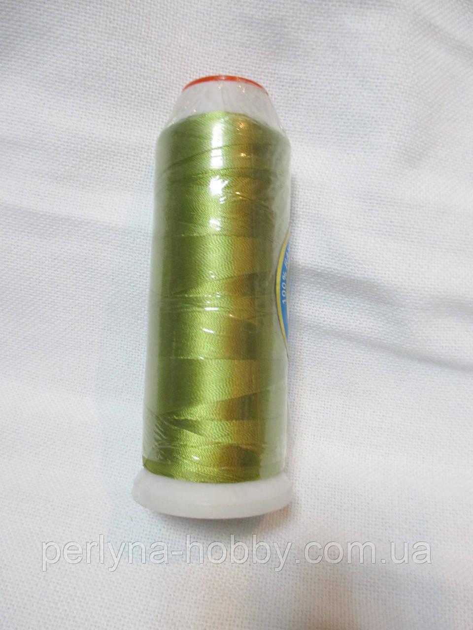 Нитки для машинної вишики 100% віскоза (100% rayon) 3000 ярдів, №179, зелений-гороховий