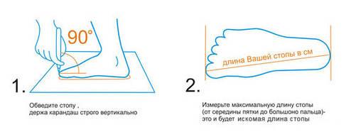 Определить размер обуви